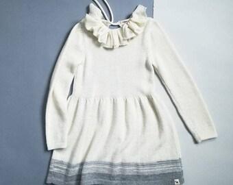SAMPLE SALE Ruffle collar dress / knitted baby alpaca dress / navy knit dress / winter dress / knitted girl dress / ruffle collar wool dress
