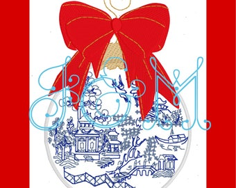 Blue Willow Chinoiserie Christmas Ornament with Bow Machine Embroidery Design
