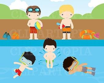 50% OFF SALE Pool Party Digital Clipart / Summer Boys digital Clipart For Personal and Commercial Use