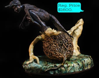 black bird lady ceramic clay hand built sculpture, bird woman fine art ceramics, harpy home decor by Kara Unland of withered moth studio