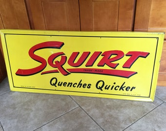 Rare 1947 Squirt Soda Quenches Quicker Embossed Tin Sign, Large