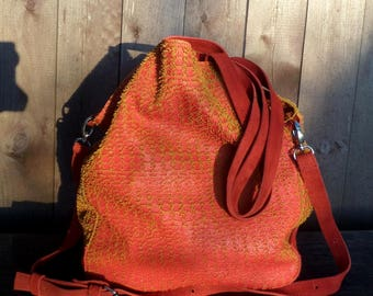 Red orange leather bag