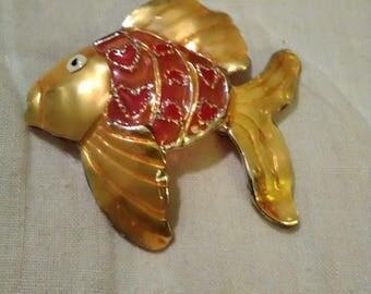 Goldfish goldtone Brooch by Best.
