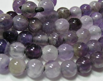 """Purple Amethyst 8mm Round with Large 2.5mm Hole Beads 8"""" Temporary Strand-DIY Jewelry-Beading-Stringing-Wire Wrap-Leather"""