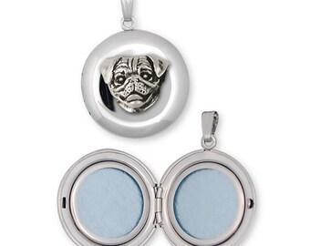 Pug Photo Locket Jewelry Sterling Silver Handmade Dog Photo Locket AD11-D