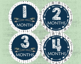 Baby Month Stickers, New Baby Gift, Monthly Baby Stickers, Milestone Stickers,  Growth Stickers, Monthly Bodysuit, Tribal Arrow, Navy Blue