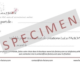 Good gift LuLu FActOrY with a value of 40 euros