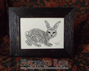 Celtic Knotwork Hare Framed Art Print