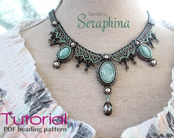 Tutorial for beadwoven necklace 'Seraphina' - PDF beading pattern - DIY