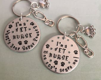 Veterinary Nurse Personalised Fun Keyring Gift. Vet Nursing. Qualification gift, Graduation gift, Christmas, Birthday Present