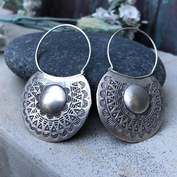 Fine silver handmade hoop earrings