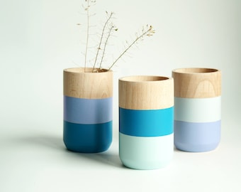 Wooden Vases - Home Decor - Blue - Homeware - Set of 3 - Livingroom Accessories