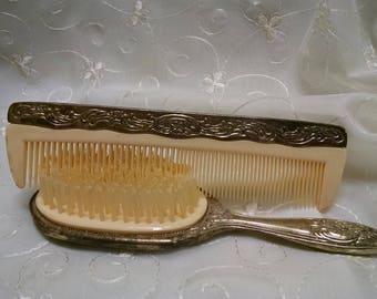 Vintage Vanity Set, Ornate Comb And Brush, Comb Brush Set, Silver Hair Brush,  Vintage Hair Brush, Art Nouveau Vanity, Comb & Brush Set