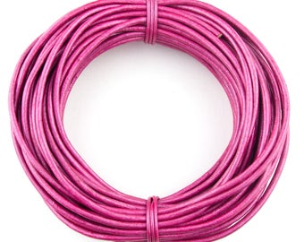 Pink Metallic Round Leather Cord 2mm 100 meters (109 yards)