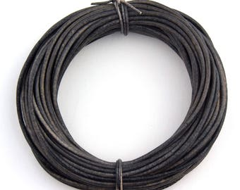 Gray Distressed Natural Dye Round Leather Cord 1.5mm 10 meters (11 yards)