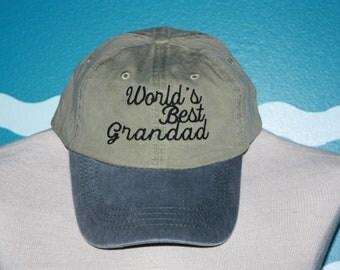 World's Best Grandad Baseball Cap - Grandad Ball Cap - Baseball Hat For Grandad - Custom Embroidered Hat - Father's Day Gift - Under 20