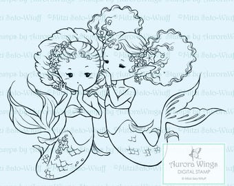 Digital Stamp - Instant Download - The Secret - Best Friends Mermaids - Fantasy Line Art for Cards & Crafts by Mitzi Sato-Wiuff