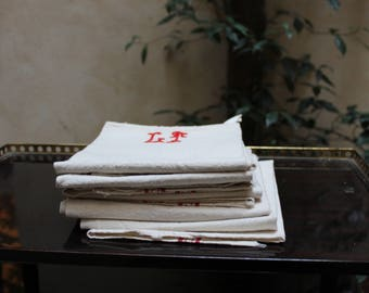Vintage 5 French linen tea towels, torchons or napkins, with red stripe on a natural beige ground. Letters in red are handmade.