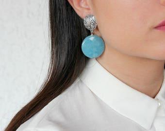Silver and light blue gemstone earrings