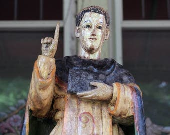 St. Vincente de Ferrer, Vietnamese carving, French Colonial Santos from the 19th Century