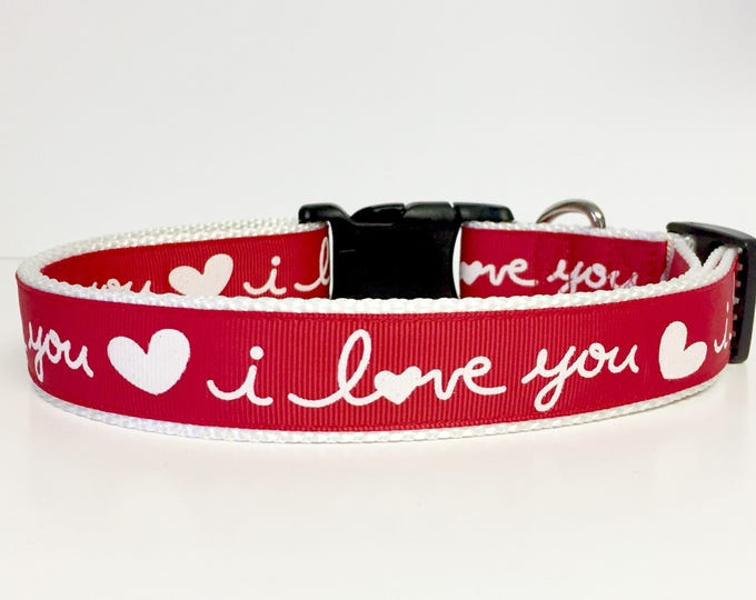 Featured listing image: I Love You Valentine Dog Collar, Valentines, Love, Dog, Pet, Gift, Holiday