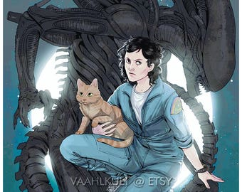 Alien 5x7 Print - Ripley and Jones
