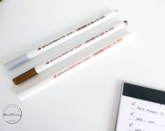 Brush Pens Metallic Gold Silver White