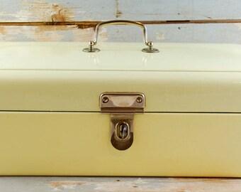 Vintage antique Dutch bread box cream enamel