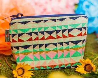 Cosmetic bag, Makeup bag, Makeup pouch, Travel pouch, Zipper pouch, Gift for her, Aztec, Cosmetic pouch, Make up bag, Lage zipper pouch