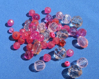 Lot Of Assorted Salvaged Pink & Clear Colored Acrylic Beads