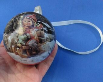 M J Hummel  Girl Boy Sled Round Metal Tin Christmas Ornament
