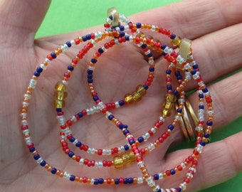 Retro Multi Colored Seed Bead Eyeglass Chain Out Of Shape TLC