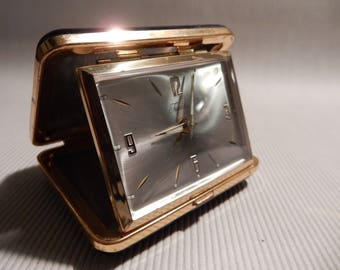 Tradition German Folding Travel Alarm Clock, Black Case