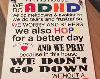 ADHD Plaque. Sign with ADHD Rhyme/Quote