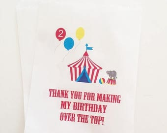 ON SALE Circus Birthday Favor Bags, Candy Favor Bags, Candy Buffet Bags, Birthday Treat Bags, Bags For Candy