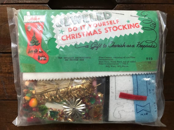 Jeweled red christmas stocking do it yourself edna looney jeweled red christmas stocking do it yourself edna looney product sequinsewing nos complete unopened kit vintage from smileitsvintage on etsy solutioingenieria Images