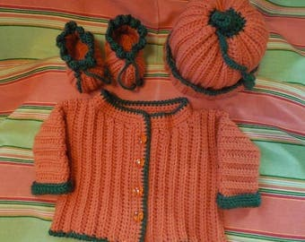 4 Pc Baby Sweater Hat Booties Baby Pumpkin Booties Baby Hat Sweater Crochet Orange Sweater Pumpkin Baby Sweater Pumpkin Shoes Thanksgiving