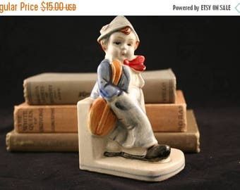 SALE Boy Blue Bookend, Ceramic Bookend, Dutch Boy Book End, Made in Japan, Little Boy Nursery Bookend Decor