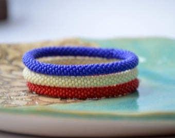 Trio of Bracelets, Set of Bead Crochet Bangles, Beaded Bangles Set, Marine Bangles