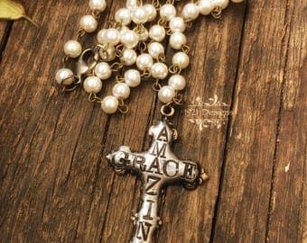 Amazin' Grace - hand stamped brass cross - necklace