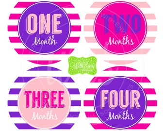 Baby Girl Monthly Stickers - Striped Baby Month Stickers - Baby Girl Growth Stickers - Girl Milestone Stickers - 055