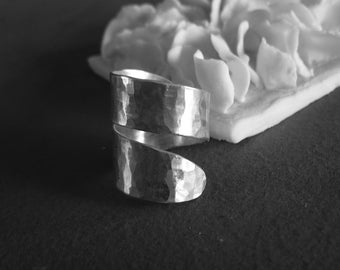 adjustable sterling silver hammered ring