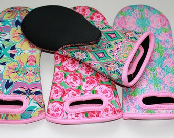 Lilly Inspired Neoprene Oven Mitts. 4 Patterns available-Perfect gifts