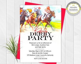 Kentucky Derby  Party Invitation | Run for the Roses | Churchill Downs | Twin Steeples | Race Track | Horse Race | Invitation | Jockey