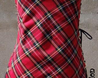 Scottish Tartan red, personalized tunic dress.