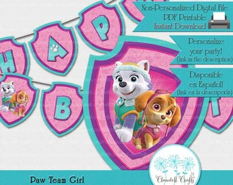 Paw Team Girl Inspired Birthday Party Printable Banner