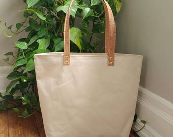 Natural canvas tote bag with cork straps