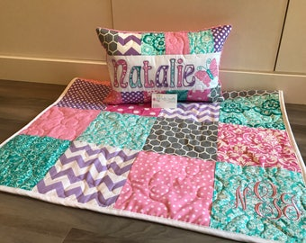 Teal, Pink & Purple damask Crib Quilt and pillow set