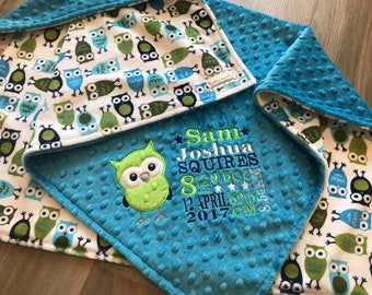 Owl green and blue Double Minky Baby Blanket, SALE!