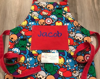 Toddler baby superhero apron made from licensed fabric